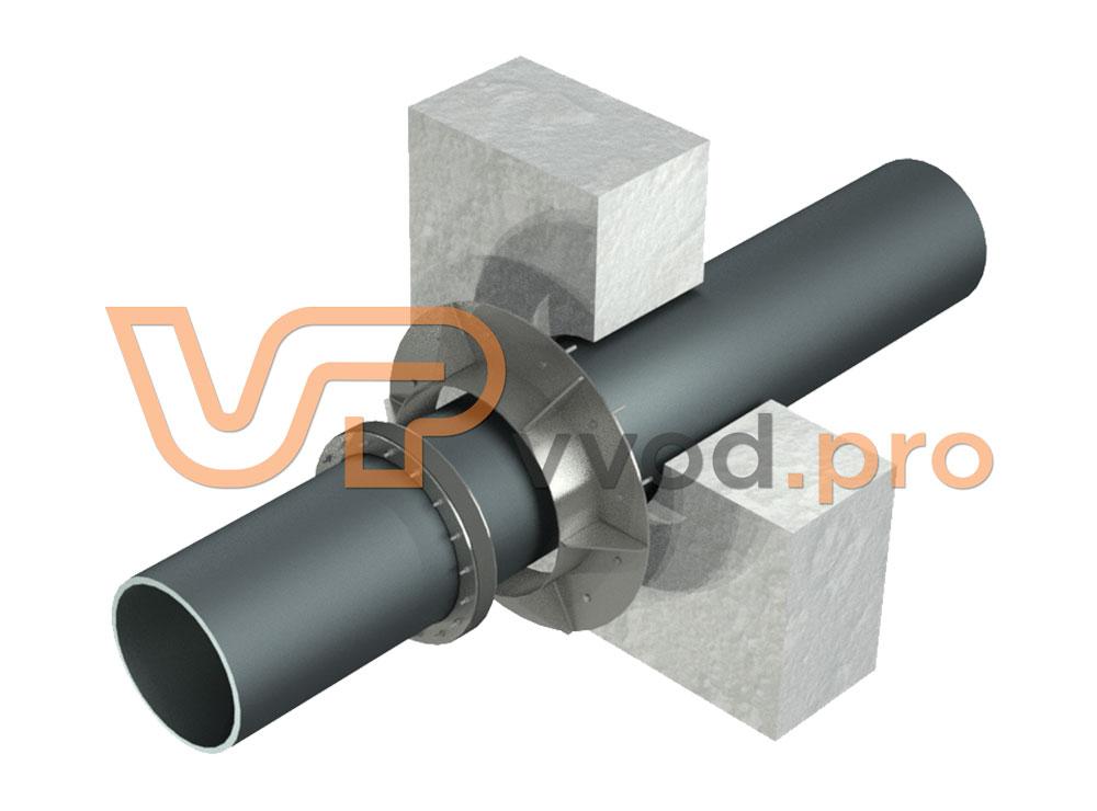 Прижимной фланец ВМТ для гидроизоляции ввода трубы в здание. Порядок сборки.