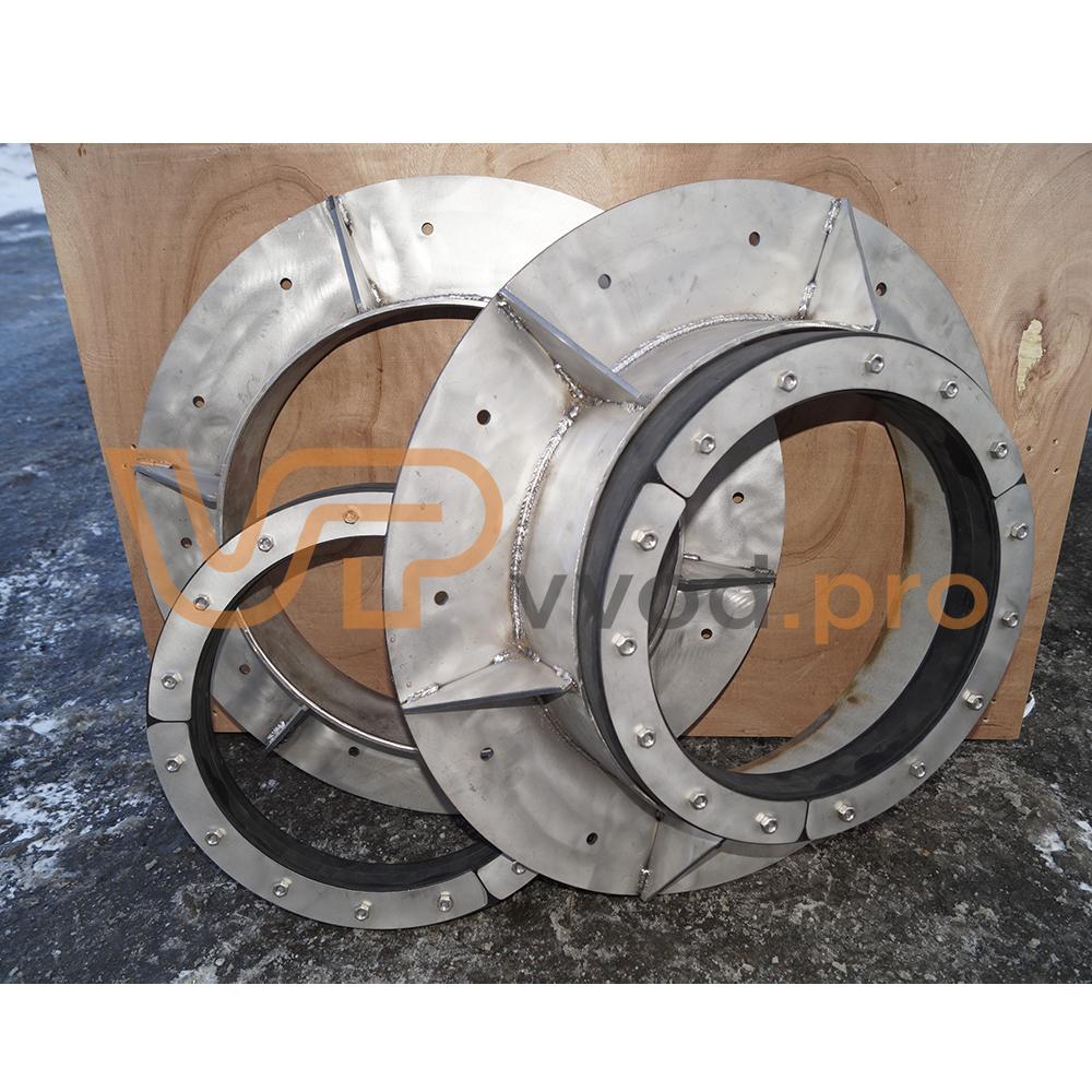 Прижимной фланец ВМТ для гидроизоляции ввода трубы в здание в комплекте с Уплотнительной вставкой ВМТ.