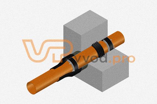 Узел с гидрогильзой ВМТ и оклеечной гидроизоляцией в стене - закладная деталь узла герметизации ввода инженерных коммуникаций.